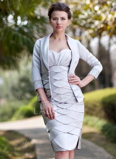 Hermoso Novio Vestido tubo Satén Vestidos de madrina (008211215)