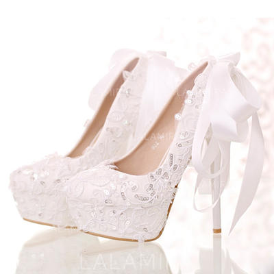 Women's Closed Toe Platform Pumps Stiletto Heel Leatherette With Bowknot Sequin Wedding Shoes (047206942)