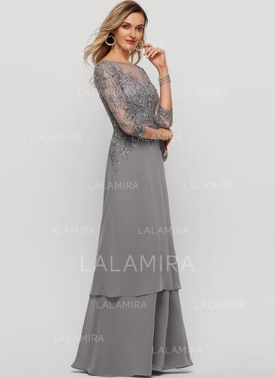 Corte A Decote redondo Longos Tecido de seda Vestido de festa (017209168)