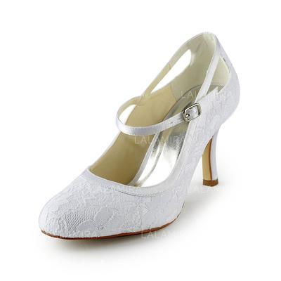 Women's Closed Toe Pumps Stiletto Heel Lace Satin Wedding Shoes (047203178)