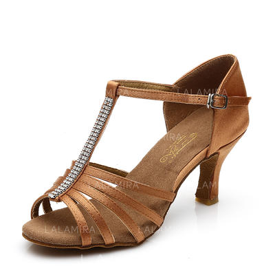 Women's Latin Heels Sandals Satin With T-Strap Hollow-out Dance Shoes (053181837)