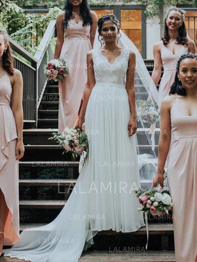 A-Line/Princess V-neck Wedding Dresses With Lace Bow(s) (002218055)