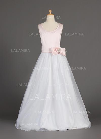 Princess Scoop Neck A-Line/Princess Flower Girl Dresses Floor-length Organza/Satin Sleeveless (010002160)