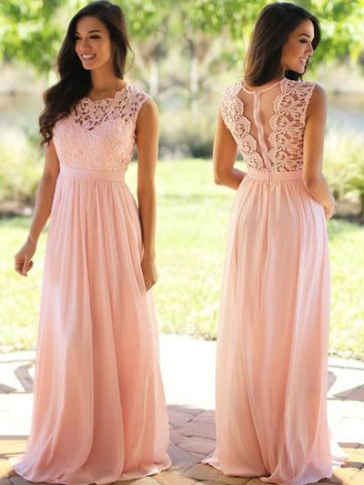 A-Line/Princess Scoop Neck Floor-Length Chiffon Prom Dresses With Ruffle (018145381)