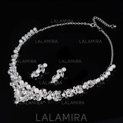 Jewelry Sets Alloy/Rhinestones Lobster Clasp Pierced Ladies' Wedding & Party Jewelry (011167259)