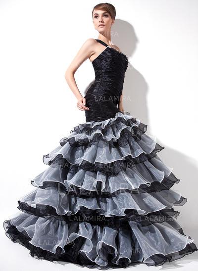 Trumpet/Mermaid Organza Prom Dresses Ruffle Beading Split Front Cascading Ruffles One-Shoulder Sleeveless Sweep Train (018020976)