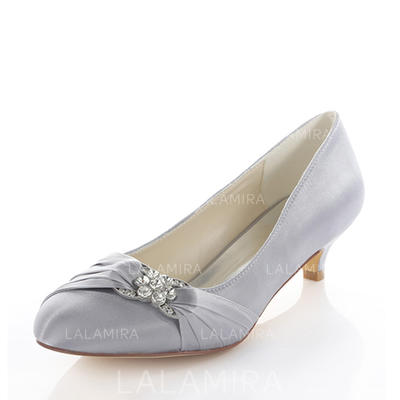Womenu0027s Pumps Kitten Heel Silk Like Satin With Crystal Wedding Shoes  (047118976)