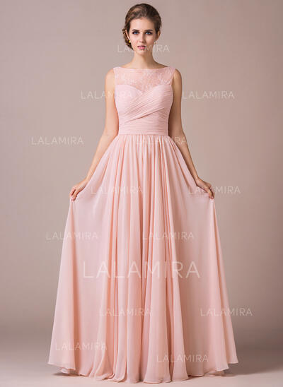 A-Line/Princess Scoop Neck Floor-Length Chiffon Prom Dresses With Ruffle (018112687)