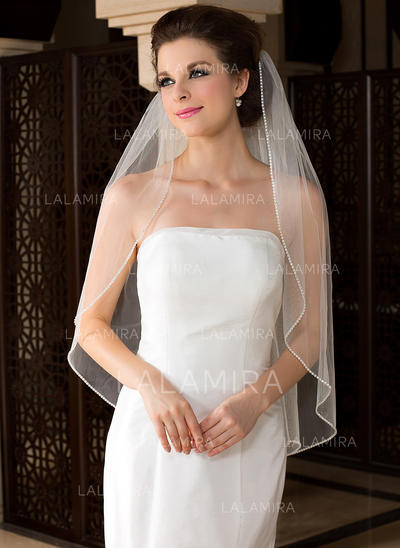 Fingertip Bridal Veils Tulle One-tier Angel cut/Waterfall With Beaded Edge Wedding Veils (006151483)