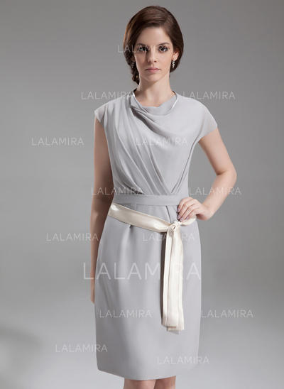 Sheath/Column Chiffon Cocktail Dresses Ruffle Sash Cowl Neck Short Sleeves Knee-Length (016213079)