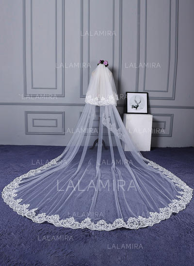 Cathedral Bridal Veils Tulle/Lace Two-tier Classic With Lace Applique Edge Wedding Veils (006152481)