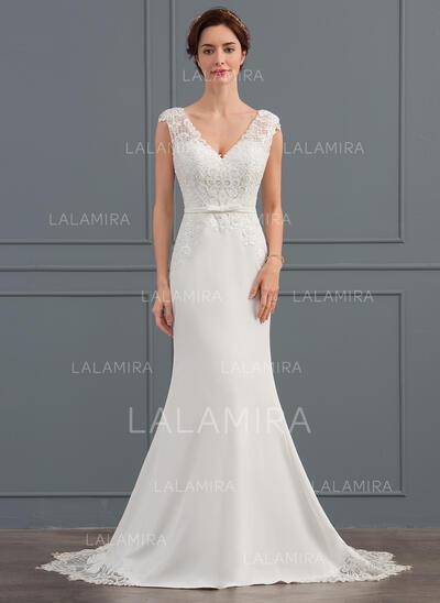 Trompete/Sereia Decote V Cauda de sereia Crepe Elástico Vestido de noiva com lantejoulas Curvado (002134814)