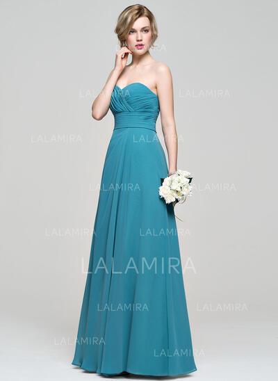 A-formet/Prinsesse kjæreste Gulvlengde Chiffong Brudepikekjole med Frynse (007083683)