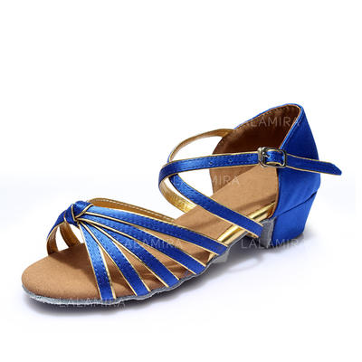 Women's Latin Sandals Satin Leatherette With Buckle Hollow-out Dance Shoes (053181962)