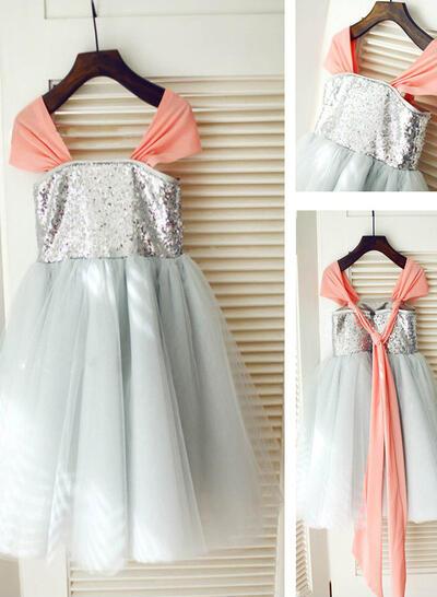 Square Neckline A-Line/Princess Flower Girl Dresses Tulle/Sequined Pleated Sleeveless Knee-length (010211974)