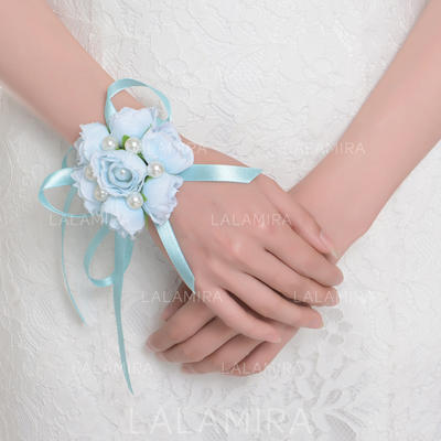 Wrist Corsage Round Wedding Satin The color of embellishments are shown as picture Wedding Flowers (123189104)