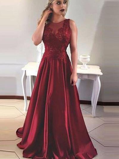 Cetim Sem magas com Vestidos princesa/ Formato A Mais Novo Vestidos de baile (018218329)