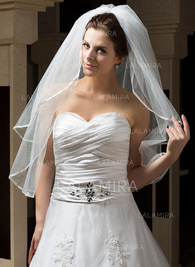 Elbow Bridal Veils Tulle Two-tier Classic With Ribbon Edge Wedding Veils (006151172)