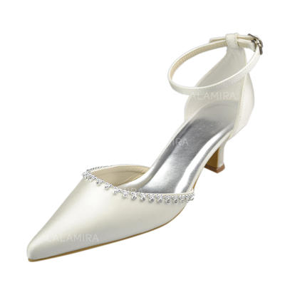 Women's Closed Toe Pumps Kitten Heel Satin With Rhinestone Wedding Shoes (047205206)