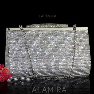 Clutches/Wristlets Wedding Crystal/ Rhinestone Clip Closure Charming Clutches & Evening Bags (012186797)