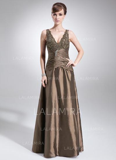 A-Line/Princess Taffeta Sleeveless V-neck Floor-Length Zipper Up Mother of the Bride Dresses (008005615)
