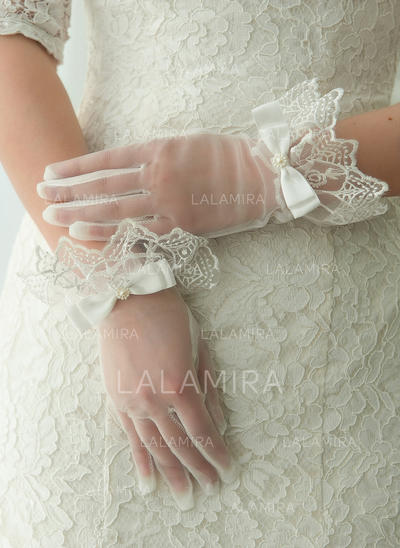 Tulle Ladies' Gloves Wrist Length Bridal Gloves Fingertips Gloves (014192200)