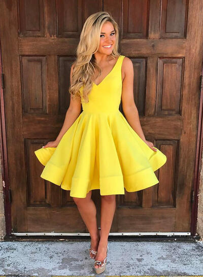 Ruffle A-Line/Princess Short/Mini Knee-Length Satin Homecoming Dresses (022216237)