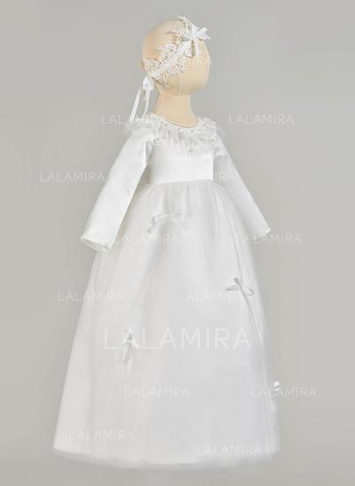 Cetim Tule Decote redondo Beading Curvado Vestidos de batismo do bebê com Manga comprida (2001217420)