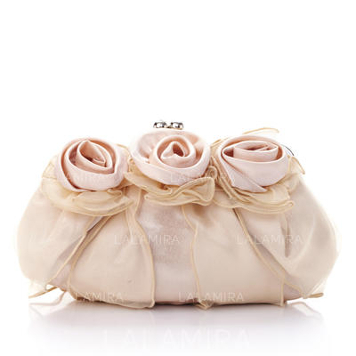 Clutches Ceremony & Party Silk/Tulle Kiss lock closure Gorgeous Clutches & Evening Bags (012184041)