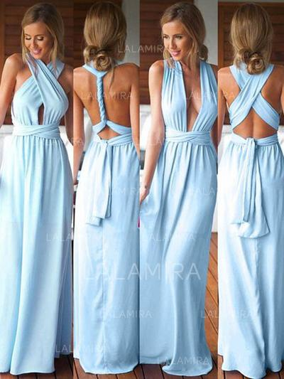 A-Line/Princess Sleeveless V-neck Jersey Bridesmaid Dresses (007144974)
