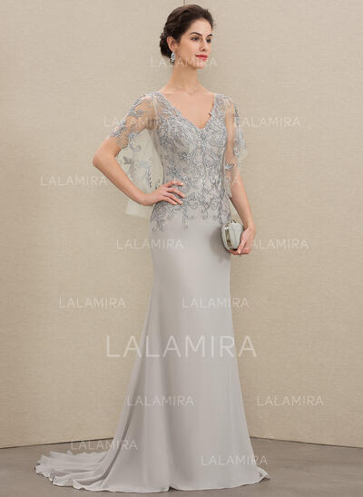 Trumpet/Mermaid V-neck Sweep Train Chiffon Lace Mother of the Bride Dress With Beading Sequins (008179189)