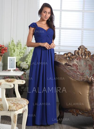 A-linjainen/Prinsessa Kullanmuru Lattiaa hipova pituus Sifonki Morsiusneitojen mekko jossa Rypytys (007005166)