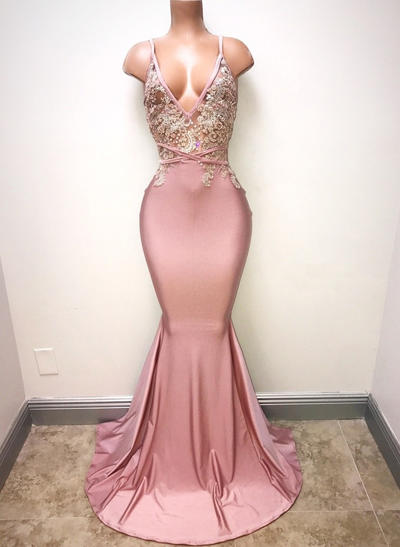 Sexy Charmeuse V-neck With Trumpet/Mermaid Prom Dresses (018218622)