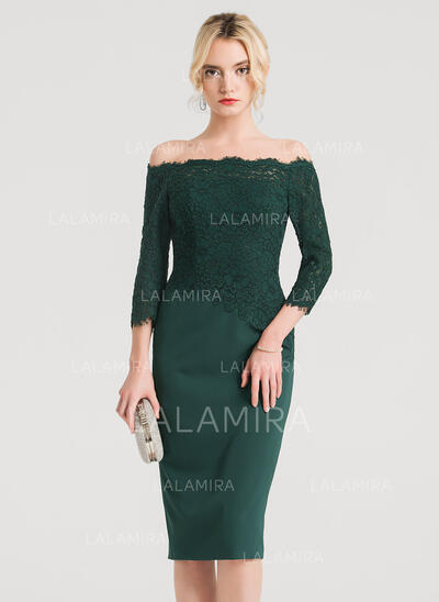 Sheath/Column Off-the-Shoulder Knee-Length Stretch Crepe Cocktail Dress (016150203)