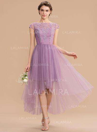 A-Line Scoop Neck Asymmetrical Tulle Lace Bridesmaid Dress (007165843)