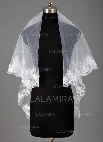 Fingertip Bridal Veils Tulle Two-tier Classic With Lace Applique Edge Wedding Veils (006151815)