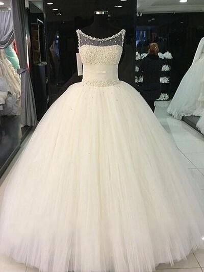 Hasta el suelo Corte de baile Sencillo Tul Vestidos de novia (002210853)