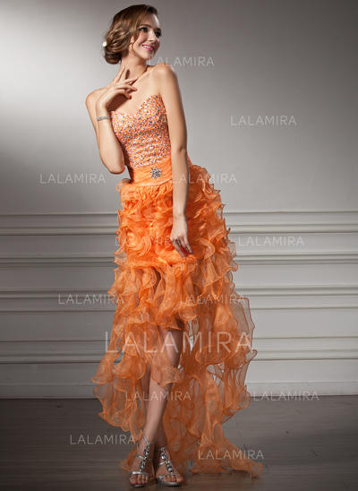 Organza Flattering A-Line/Princess Asymmetrical Prom Dresses (018021106)
