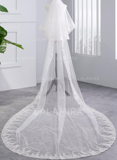 Chapel Bridal Veils Tulle Two-tier With Lace Applique Edge With Lace Wedding Veils (006152501)