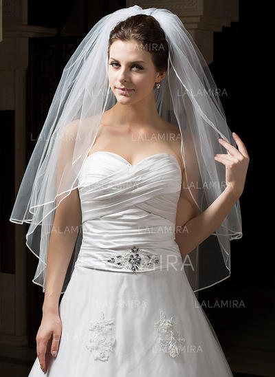 Yema del dedo velos de novia Tul Dos capas Estilo clásico con Lápiz Velos de novia (006034310)