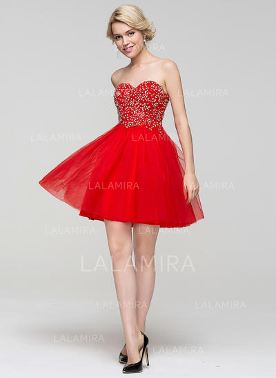Tulle Sans bretelle Forme Princesse Amoureux Robes de soirée étudiante (022214092)