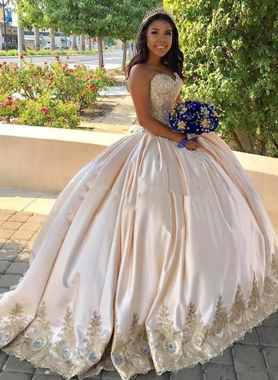 Sweep Train Strapless Satin Ball-Gown Prom Dresses