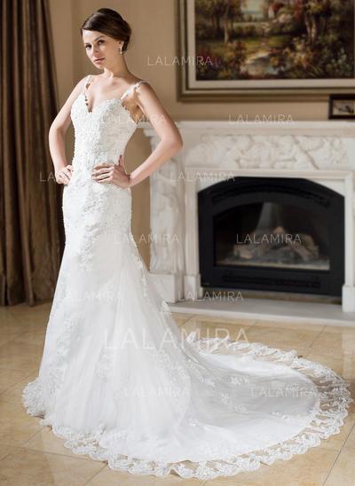 Beading Appliques Sleeveless Trumpet/Mermaid - Tulle Wedding Dresses (002000379)