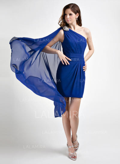 Sheath/Column One-Shoulder Short/Mini Chiffon Cocktail Dresses With Ruffle Beading (016015762)