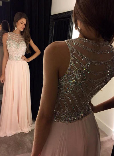 Gorgeous Scoop Neck A-Line/Princess Chiffon Prom Dresses (018144649)