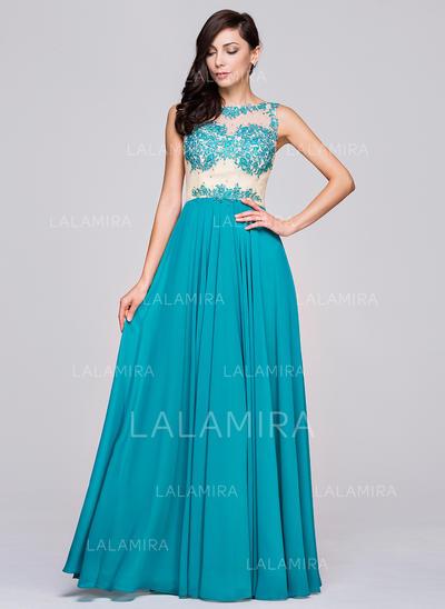 Sleeveless A-Line/Princess Chiffon Scoop Neck Prom Dresses (018210626)