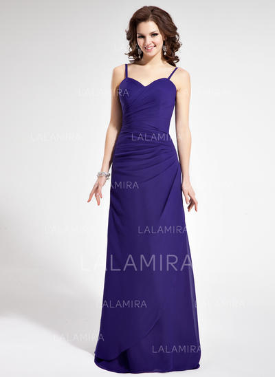 Sheath/Column Chiffon Bridesmaid Dresses Ruffle Sweetheart Sleeveless Floor-Length (007021815)