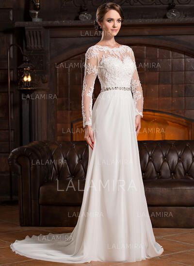 A-Line Illusion Court Train Chiffon Lace Wedding Dress With Ruffle Beading Sequins (002056220)