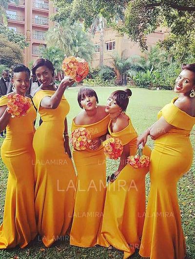 Trumpet/Mermaid Satin Bridesmaid Dresses Ruffle Off-the-Shoulder Sleeveless Floor-Length (007211564)