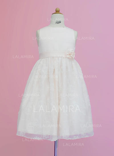 Glamorous Scoop Neck A-Line/Princess Flower Girl Dresses Tea-length Satin/Lace Sleeveless (010005342)